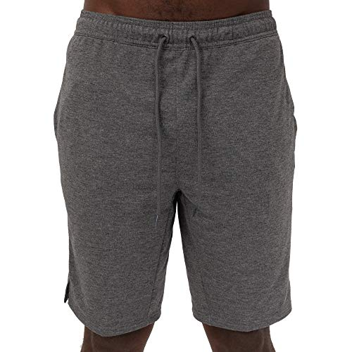 Layer 8 Men's Knit Short Quickdry Stretch Athletic Short Nine Inch Inseam (Medium, Charcoal Grey Heather French Terry)