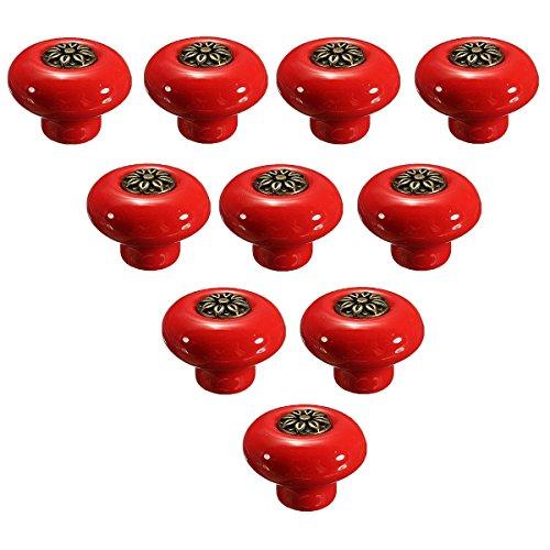 Creatwls 10PCS Retro runde keramische Haus Dekoration Türknöpfe, Küche Badmöbel Schubladen Schränke Griffe Porzellan Möbelknöpfe Möbelgriffe Möbelknauf (Rot + Bronze)