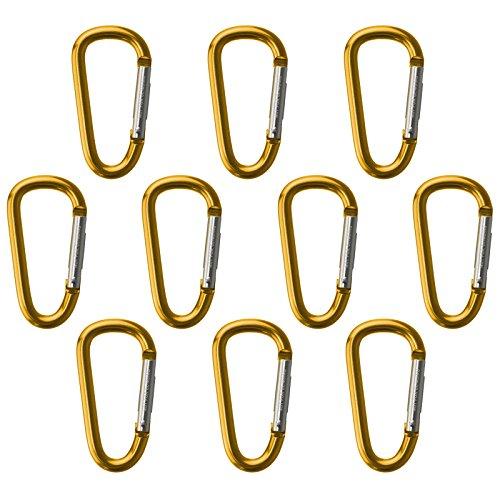BB Sport Mousquetons Porte clés Fun 10 pièces en Aluminium Crochet Camping, randonée, Sac de Montagne, Couleur:Jaune