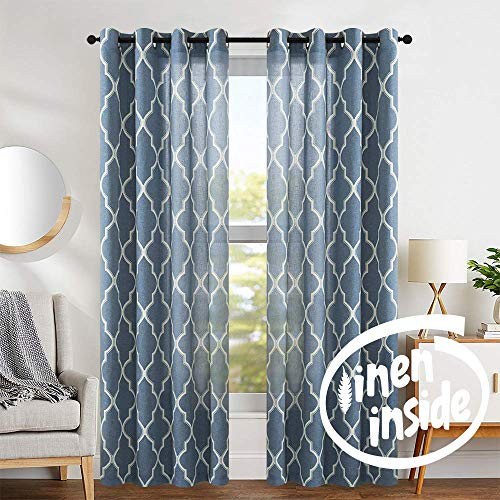 Print Curtains 84 inch Lattice Moroccan Tile Flax Linen Blend Curtain Textured Grommet Quatrefoil Window Treatment Set for Living Room Kitchen - (Blue, Set of 2 Panels)