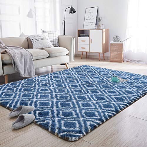 Noahas Soft Area Rugs for Bedroom Living Room Shaggy Patterned Fluffy Carpets for Nursery Baby Rooms Silky Smooth Fuzzy Kids Play Mats Christmas Thanksgiving Holiday Decor Rug, 5ft x 8ft, Light Navy