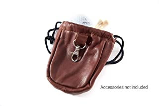 GV Image Collection Drawstring Golf Ball and Valuables Pouch-Brandy Leather-Metal Hook Attachment-5