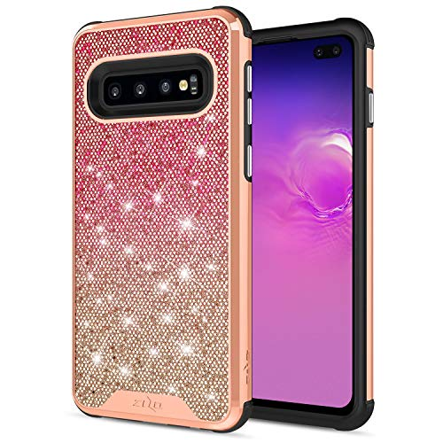 ZIZO Wanderlust Series for Samsung Galaxy S10 Plus Case Dual Layer with Glitter Design Rose Mist