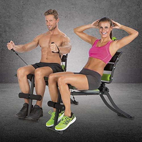 VITALmaxx Swingmaxx Fitnesstrainer 6 in 1   Trainiert Bauchmuskeln, Rücken, Bizeps, Trizeps & Schultern   Platzsparend Verstaubar   Schwarz-Grün
