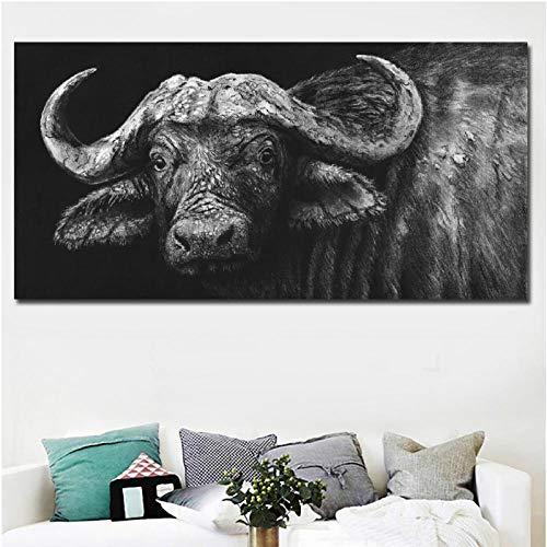 Jwqing Modern canvas schilderij muurkunst buffel zwart schilderij druk op canvas schilderijen voor woonkamer huis decoratie poster (60x120cm zonder lijst)