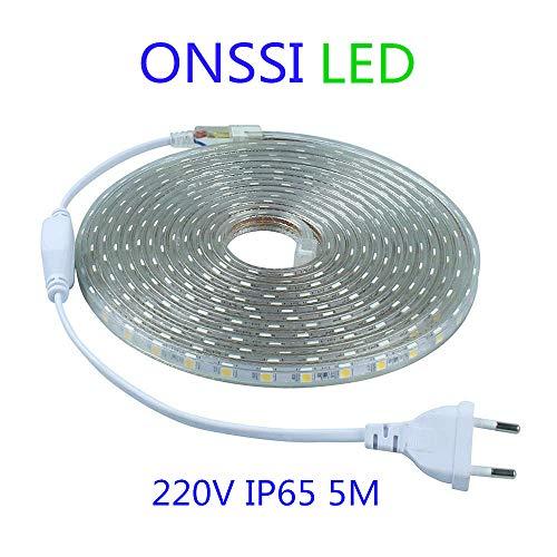 Tiras LED SMD5050 60 Led/m 220v (5 Metros) Luz Fría 6000k Ip65 Impermeable Con Enchufe ONSSI LED