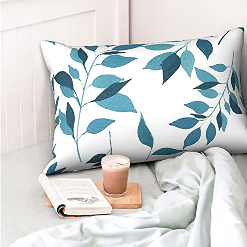 VVSADEB Funda de almohada botánica de acuarela azul 50 x 70 cm, funda de almohada con cremallera, suave y acogedora, arrugas, tamaño estándar 1 paquete