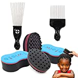 6PCS Magic Twist Hair Sponge, FULANDL Big ang Small Holes Barber Hair Brush Sponge with Metal Hair Pick Comb, Styling Tool for Dreads Locking Afro Curl Coil Wave Hair Care (Black)