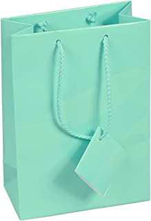 10 pcs Medium Fancy Robin's Egg Blue Glossy Finish Shopping Paper Gift Sales Tote Bags with Blank Message Tag 4.75