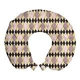 ABAKUHAUS Resumen Cojín de Viaje para Soporte de Cuello, Art Deco Estilo Rombo, Cómoda y Práctica Funda Removible Lavable, 30x30 cm, Calentar Gris Pardo pálido Amarillo