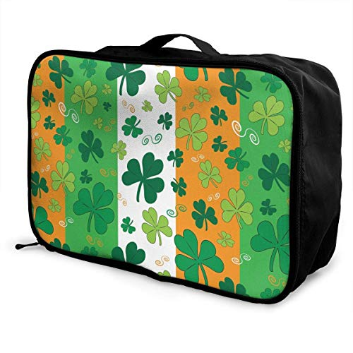 Qurbet Bolsas de Viaje, St. Patrick's Day Irish Shamrock Pattern Overnight Carry...