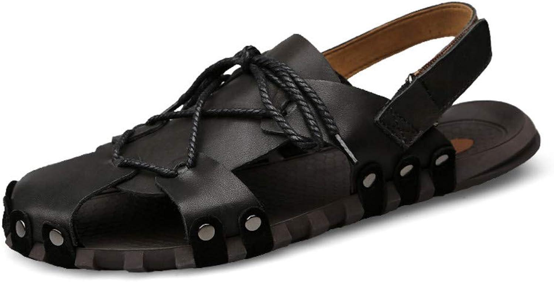 Flip-Flops Outdoor Sports Sandalssummer Men's Sandals Leather Breathable Toe Cap Casual Non-Slip Beach shoes Men's shoes