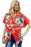 Wxnow Womens Summer Fashion Floral Blouses V Neck Blouses Shirts Tops Twist Knot Loose Casual Blouses B-Orange2 XXL