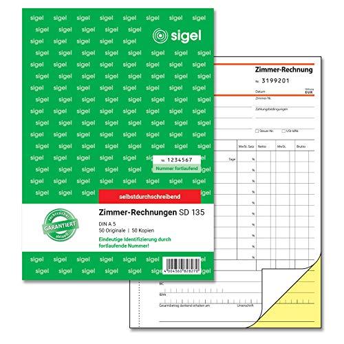 SIGEL SD135 Zimmerrechnung A5, fortlaufend nummeriert, selbstdurchschreibend, 2 x 50 Blatt