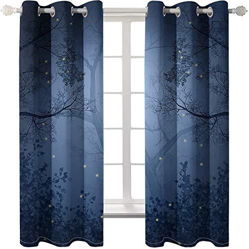 AmDxD 2 paneles de cortina de poliéster para cuarto de baño, cortinas para sala de estar, cortinas de luciérnagas, lavables a máquina, gris azul, 250 cm de ancho x 150 cm de largo