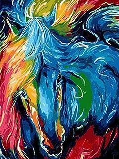 H/H Coloré Animal Cheval Art HD Affiche Décoration De La Maison Peinture Mode Bar Café Toile Art Peinture À l'huile sans C...