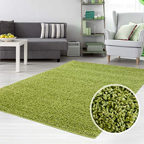 carpet city Hochflor Shaggy Teppich Langflor Teppiche Einfarbig Uni Grün für Wohnzimmer Schlafzimmer 3 cm Florhöhe, Größe 160x220 cm