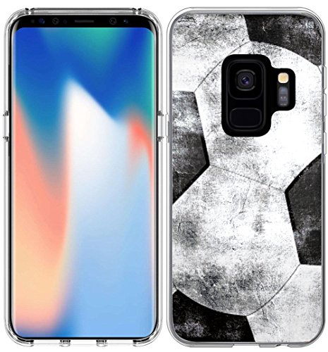 S9 Case Design/IWONE Designer TPU Non Slip Rubber Durable Compatible Protective Cover for Samsung for Galaxy S9 + Colorful Creative Vintage Soccer Football Pattern