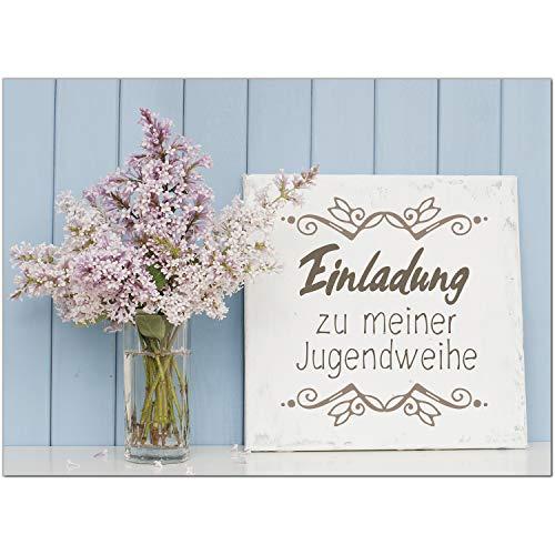 15 x Einladungskarten zur Jugendweihe mit Umschlag/Blumen für Jungen und Mädchen/Jugendweihekarten/Einladungen zur Feier
