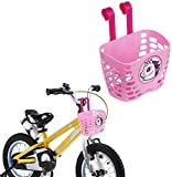 SOULBEST Cesta de Bicicleta Infantil Lindo Patrón de Dibujos Animados Colgando Cesta de Manillar de Bicicleta de Plástico Barra Larga para niños niñas Bicicleta y Monopatín (Rosado)