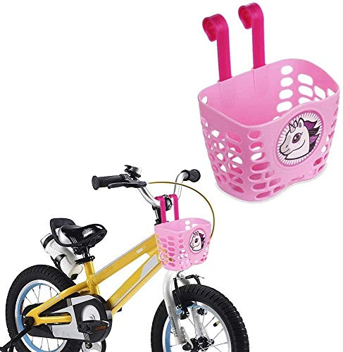 Kyowoll Panier de vélo pour Enfant de Plastique Dessin animé Mignon Motif accrochant vélo Guidon Sac de Transport Panier pour garçon et Fille (Rose)