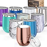 Wine Tumbler Vacuum Insulated Stemless - THILY 12 oz Triple-Insulated Stainless...