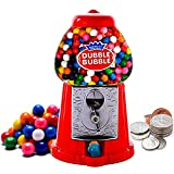 Gumball Machine Coin Operated Toy Bank - 8.5' Dubble Bubble Classic Red Style Includes 45 Gum Balls - Kids Coin Bank - Candy Dispenser - Playo