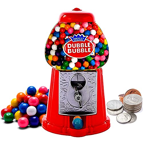 """Gumball Machine Coin Operated Toy Bank - 8.5"""" Dubble Bubble Classic Red Style Includes 45 Gum Balls - Kids Coin Bank - Candy Dispenser - Playo (Color Red)"""