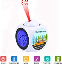 JLHEB Projection White Alarm Clock Digital LCD Display Voice Talking Table Clocks Temperature Snooze Function Desk Cute Owl School Bus Driver