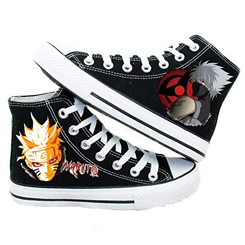 Telacos Naruto Uzumaki Naruto Hatake Kakashi Cosplay Schuhe Canvas Schuhe Sneakers, Damen, Schwarz, 9 D(M) US Male