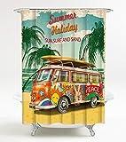 Duschvorhang Summer Bus 180 x 200 cm, hochwertige Qualität, 100prozent Polyester, wasserdicht, Anti-Schimmel-Effekt, inkl. 12 Duschvorhangringe