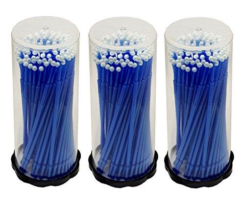 300 Stück- 3 x 100 Stück Microbrush Applikator Microfaser Pinsel Reinigungsstäbchen Minipinsel Mikrostäbchen - Blau 2,5 mm für Wimpernverlängerung
