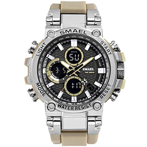 AYDQC Männer Sport-Uhr, 50M wasserdichte Analog-Digital-Sport-Uhr, Multifunktions-Zeitanzeige Casual Male Chronograph Quarz-Geschäfts-Armbanduhr fengong (Color : F)
