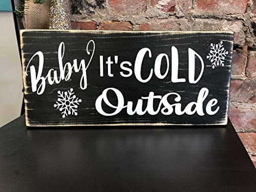 Yilooom Rustic Wood Sign Wooden Plaque Christmas Holiday Wall Decor, Baby Its Cold Outside Sign, Vintage Sign, Christmas Sign, Holiday Decor, Farmhouse Christmas, Primitive