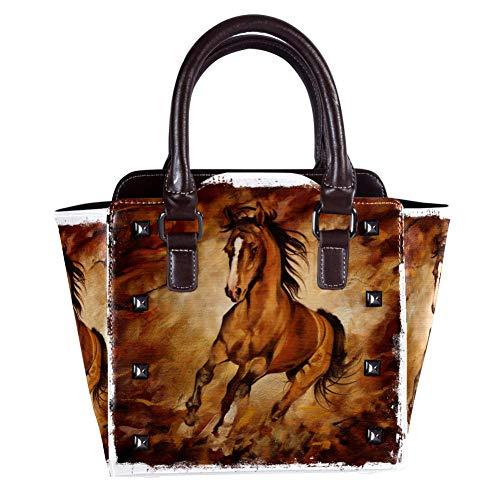 Handtasche, Schultertasche für Damen, Leder, Umhängetasche mit Schokoladenpferd-Muster