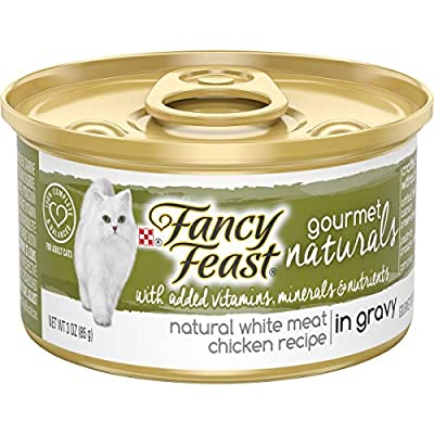 Purina Fancy Feast Natural Wet Cat Food, Gourmet Naturals White Meat Chicken Recipe in Gravy - (12) 3 oz. Cans