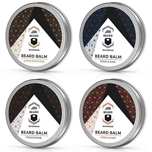 Beard Balm Variety Pack of 4 (Vanilla, Sandalwood, Cedarwood, Citrus) – Soften, Style