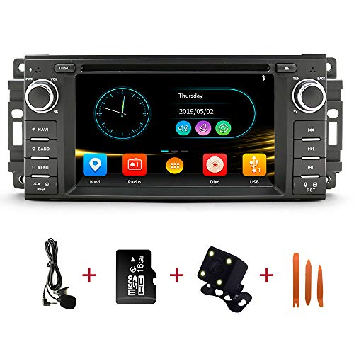 Car Stereo Radio in Dash Navigation for Dodge Ram Challenger Chrysler Jeep Wrangler,6.2 inch Touchscreen Single Din DVD Player Bluetooth with Rear View Camera,16GB SD Card,3.5mm Mic,Crowbar