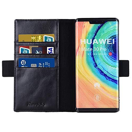 Tianniuke Huawei Mate 30 Pro Hülle, Echt Leder hülle mit Kartenfach Standhülle Flip Schutzhülle, Brieftasche Wallet Handyhülle für Huawei Mate 30 Pro (Schwarz) - 5