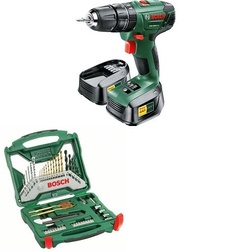 Bosch PSB 1800 LI-2 Cordless Hammer Drill Driver with 2x 18V Batteries and 50-Piece Accessory Set
