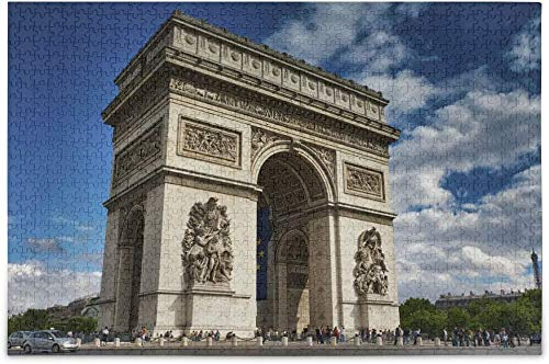 Arc De Triomphe Paris Wahrzeichen Berühmtes Frankreich Puzzle, Holzpuzzle, DIY Familienspiel, 500 Stück 15,7 * 23,6 Zoll