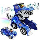 LINKFU Dinosaur Transformer Toy, Automatic LED Transforming Dinosaur Toy with Sound, 2 in 1...