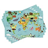 Ambesonne Wanderlust Place Mats Set of 4, Animal Map of The World for Cartoon Mountains Forests, Washable Fabric Placemats for Dining Table, Standard Size, Pale Blue