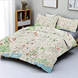 Juego de funda nórdica, mapa de las calles de la ciudad de Barcelona, parques, subdistritos, puntos de interés, decorativo Juego de cama decorativo de 3 piezas con 2 fundas de almohada, beige, verde