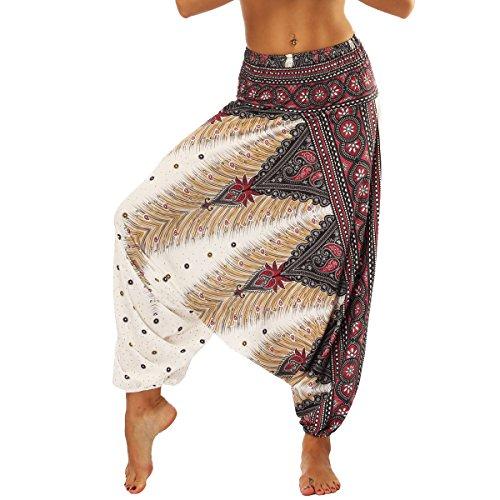 Nuofengkudu Donna Pantaloni Palazzo Harem Cavallo Basso Estivi Baggy Aladin alla Turca Boho Vintage Stampa Vita Alta Yoga Pants Marrone Pavo