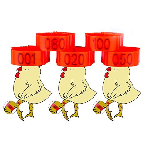 JUJIBL 100 Pcs Chicken Bird Leg Rings Numbered Chicken Birds Identification Leg Bands Poultry Leg Bands Leg
