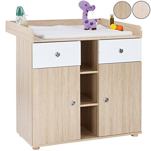 Infantastic Table à langer, meuble pour bébé avec 2 armoires env. 90 x 69 x 92 cm, couleur hêtre