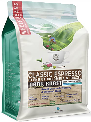 32 Ounce (2 LB) Espresso Coffee Whole Bean, Low Acidity all Natural, Dark Roast Heavy Crema, Colombia and Brazil Coffee, Notes: Roasted Nuts, Sweet Caramel Nutmeg - CoffeaFarms by Coffeeland