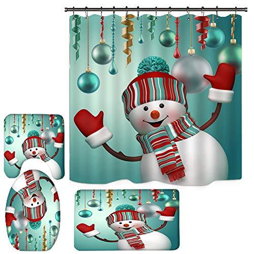 Yehapp 3D-Duschvorhang-Sets, Weihnachts-Badmatte/rutschfeste Badezimmerteppiche/Deckel/WC-Deckel/Duschvorhang mit 12 Haken, wasserdicht, Weihnachts-Badezimmer-Sets, Dekor mit Schneemann-Muster