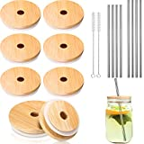 8 Pack Bamboo Mason Jar Lids with Straw Hole Compatible with 70 mm Regular Mouth and 86 mm Wide Mouth Mason Jars (Silicone O-Ring Gasket Included) with Straw and Straw Brushes